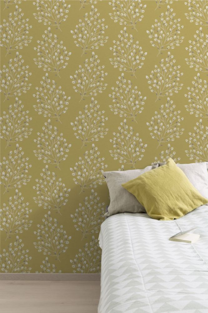 Grandeco Willow Yellow A35801 Wallpaper